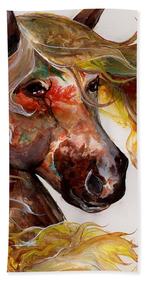 Horse Hand Towel featuring the painting Fire Agate by Sherry Shipley