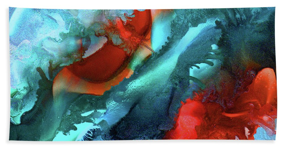 Abstract Hand Towel featuring the painting Fire And Ice by Eunice Warfel
