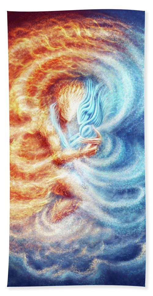 Fire Hand Towel featuring the digital art Fire And Ice by Karolina Wegrzyn