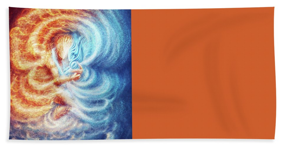 Fire Ice Elemenets Male Female Burn Burning Hand Towel featuring the painting Fire And Ice by Karolina Wegrzyn