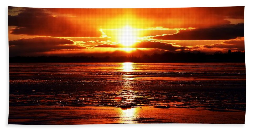 Sunsets Bath Sheet featuring the photograph Fire And Ice by Mike Homblette