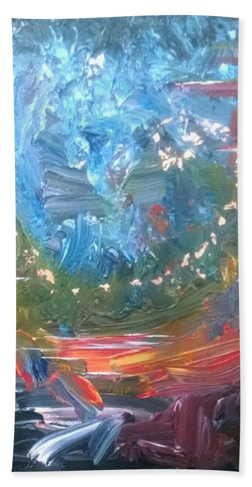 Abstract Bath Sheet featuring the painting Fire And Water by Sandra Belz