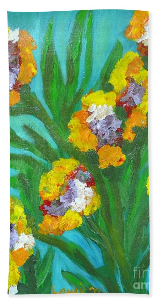 Flower Bath Towel featuring the painting Fire Blossoms by Laurie Morgan