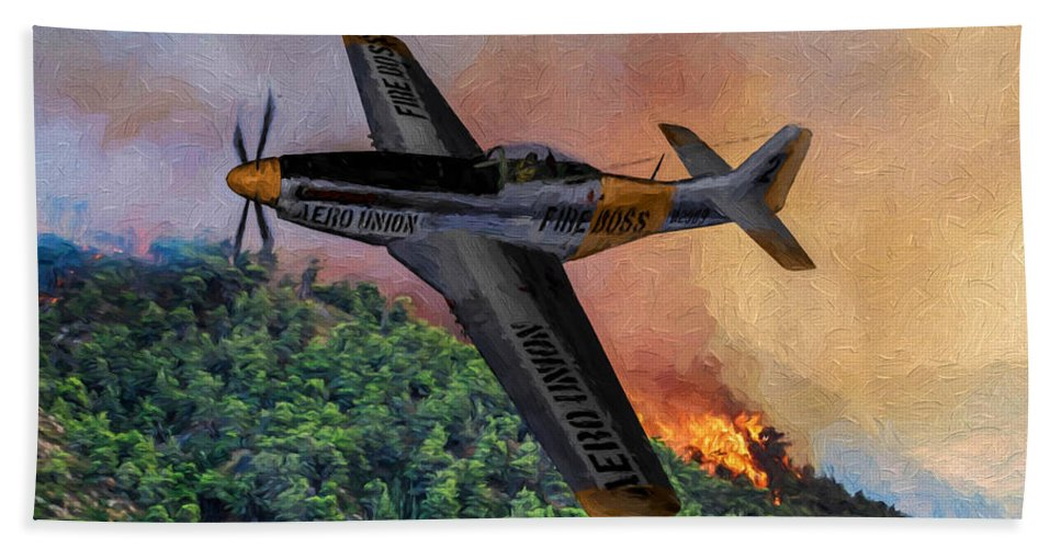 Cal-fire Hand Towel featuring the digital art Fire Boss - Oil by Tommy Anderson
