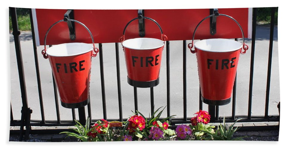 Fire Hand Towel featuring the photograph Fire Buckets by Lauri Novak