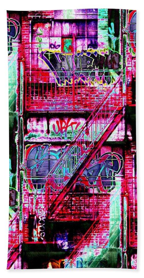 Fire Escape Bath Towel featuring the digital art Fire Escape 3 by Tim Allen