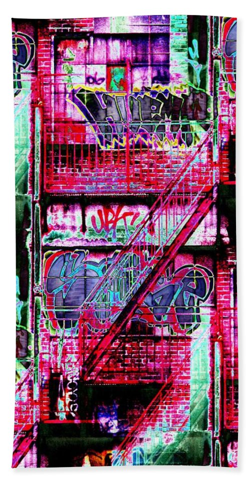 Fire Escape Bath Sheet featuring the digital art Fire Escape 3 by Tim Allen