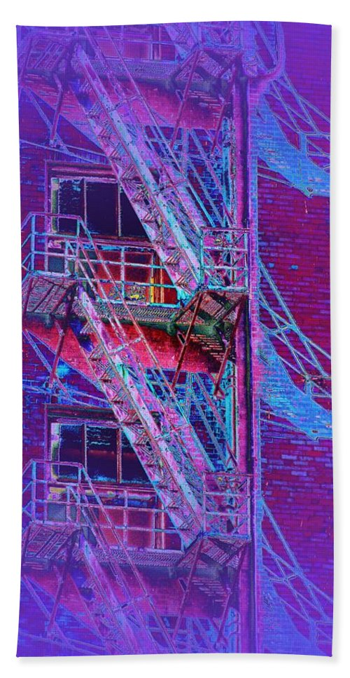 Fire Escape Bath Sheet featuring the photograph Fire Escape 4 by Tim Allen