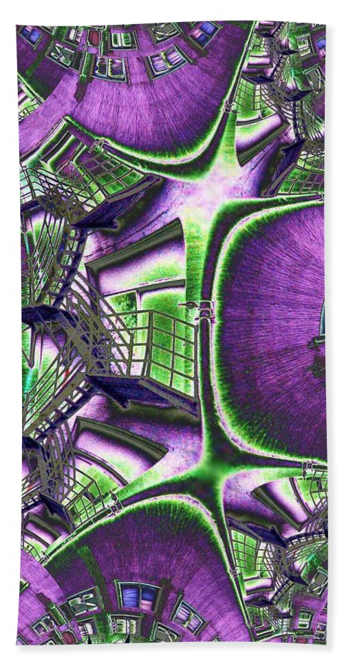 Fire Escape Bath Towel featuring the photograph Fire Escape Fractal by Tim Allen