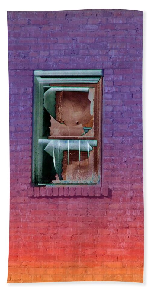 Architecture Hand Towel featuring the photograph Fire Escape Window 2 by Tim Allen