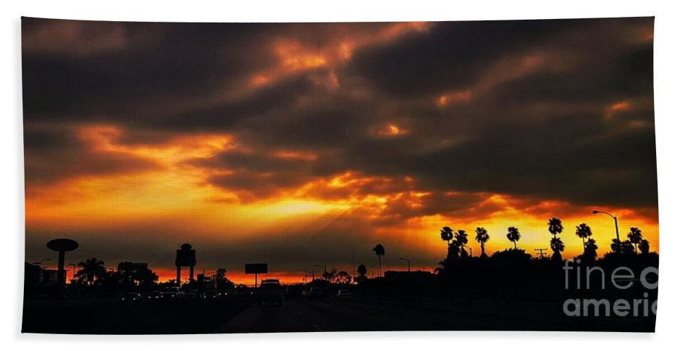 Red Clouds Hand Towel featuring the photograph Fire From The North by Angela J Wright