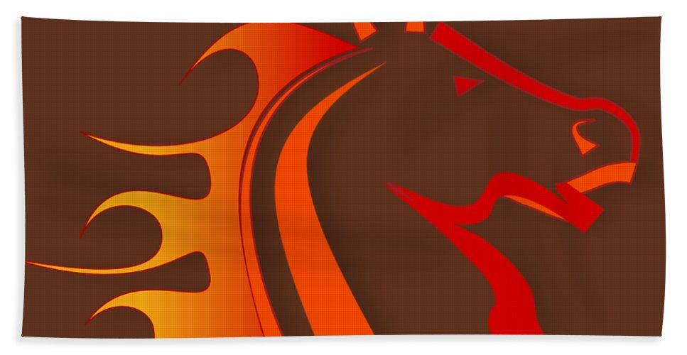 Horse Hand Towel featuring the digital art Fire Horse by Scott Davis