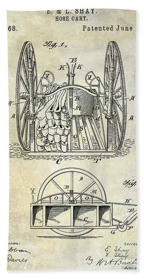 Fire Patent Drawing Bath Towel featuring the photograph Fire Hose Cart Patent by Jon Neidert