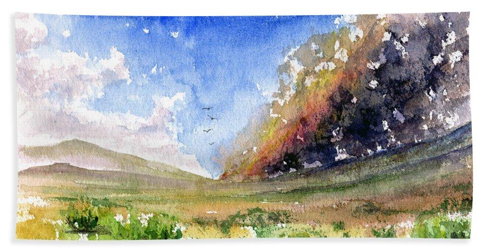 Fire Bath Sheet featuring the painting Fire In The Desert 1 by John D Benson