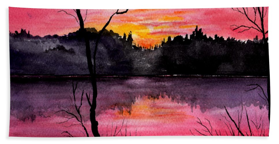 Landscape Bath Towel featuring the painting Fire In The Sky  Lake Arrowhead Maine by Brenda Owen