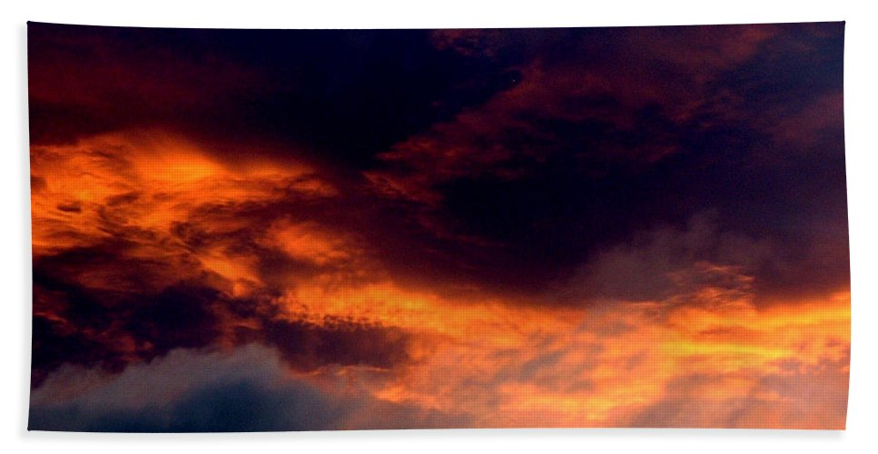 Fire Hand Towel featuring the photograph Fire In The Sky by Barbara Griffin