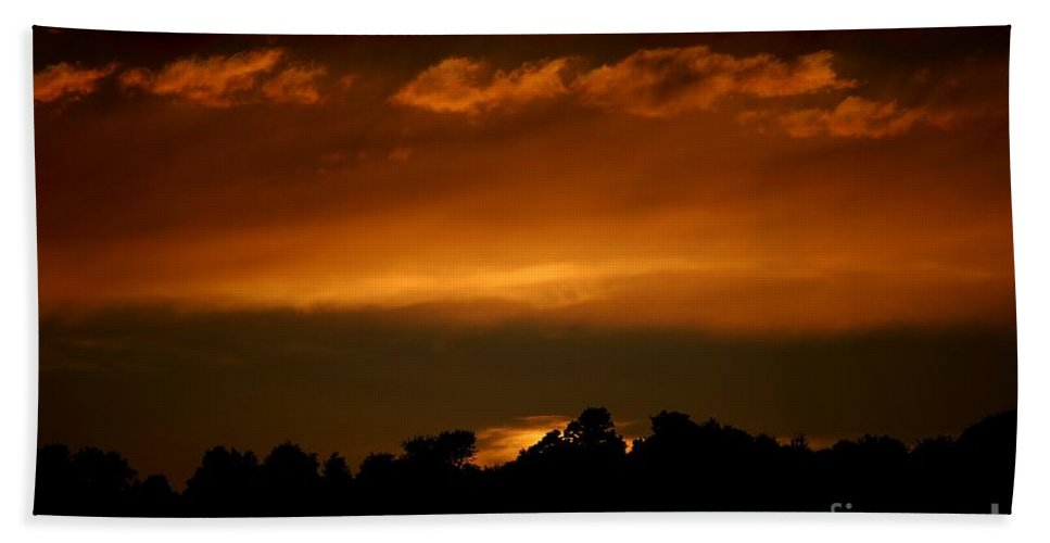 Digital Photo Hand Towel featuring the photograph Fire In The Sky by David Lane