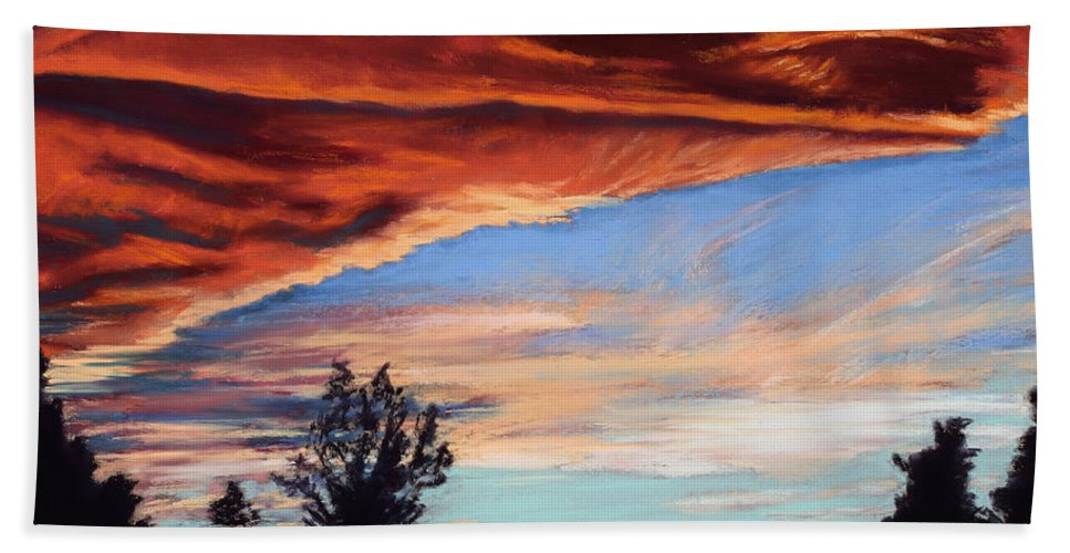 Sunset Bath Sheet featuring the painting Fire In The Sky by Mary Benke
