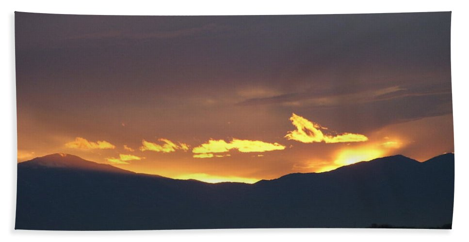 Sunset Bath Sheet featuring the photograph Fire In The Sky by Shari Chavira