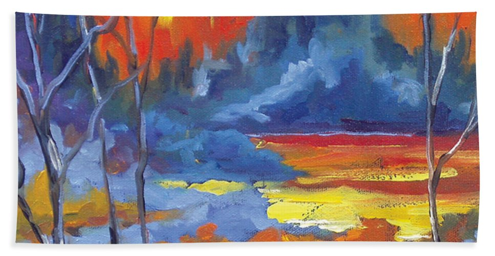 Art Bath Sheet featuring the painting Fire Lake by Richard T Pranke