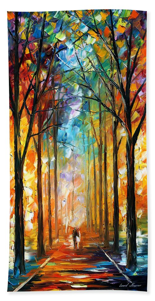 Afremov Hand Towel featuring the painting Fire Night by Leonid Afremov