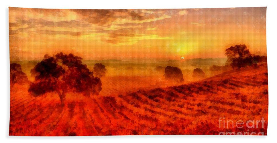 Vineyard Bath Sheet featuring the photograph Fire Of A New Day by Edward Fielding