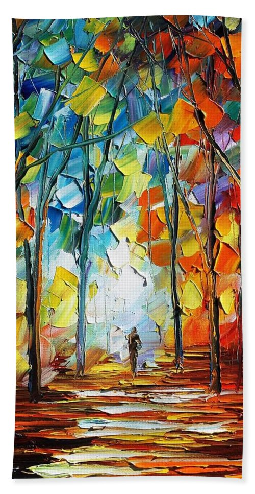 Afremov Hand Towel featuring the painting Fire Of Feelings by Leonid Afremov