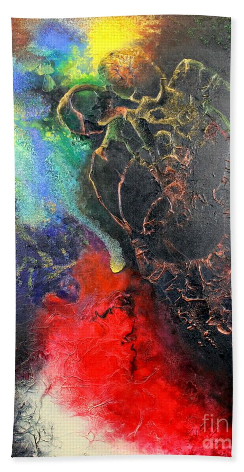 Valentine Bath Towel featuring the painting Fire Of Passion by Farzali Babekhan