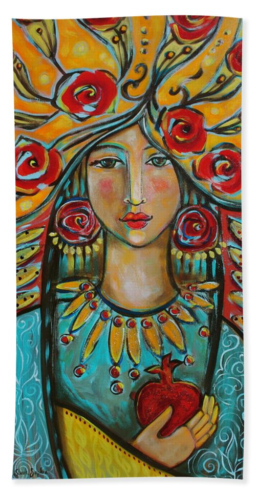 Fire Of The Spirit Hand Towel featuring the painting Fire Of The Spirit by Shiloh Sophia McCloud