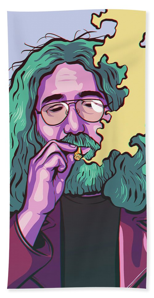 Jerry Garcia Bath Towel featuring the drawing Fire On The Mountain by Miggs The Artist