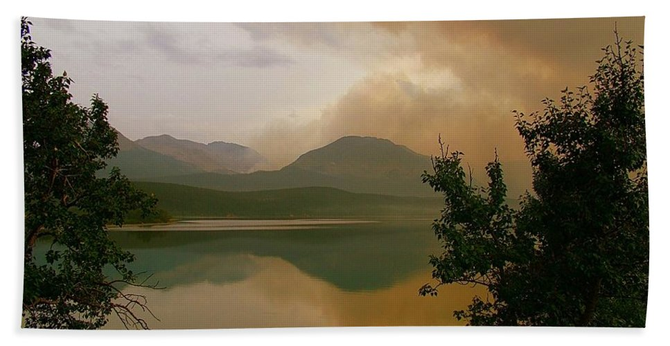 St Mary Lake Bath Sheet featuring the photograph Fire Over St Mary Lake by Tracey Vivar
