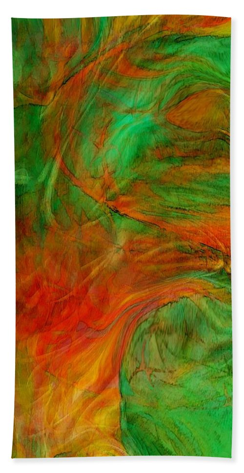 Abstract Art Hand Towel featuring the digital art Fire Tree by Linda Sannuti