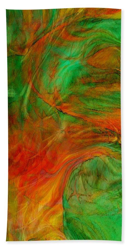 Abstract Art Bath Sheet featuring the digital art Fire Tree by Linda Sannuti