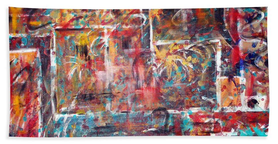 Acrylic Panting Bath Sheet featuring the painting Fire Works by Yael VanGruber