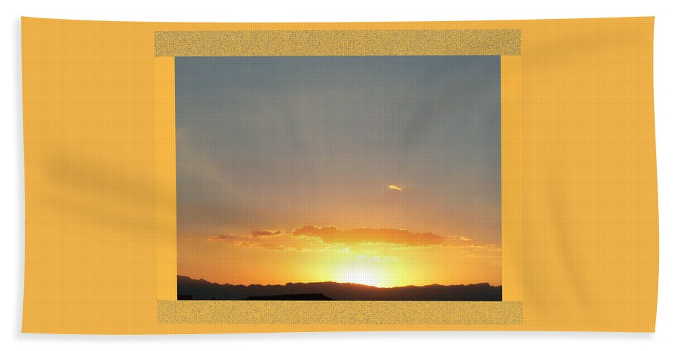 Fireball Sunset Bath Sheet featuring the photograph Fireball Sunset by Shirley Anderson