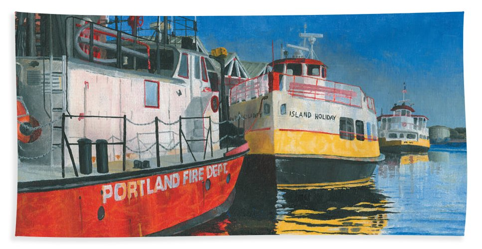 Fireboat Bath Towel featuring the painting Fireboat And Ferries by Dominic White