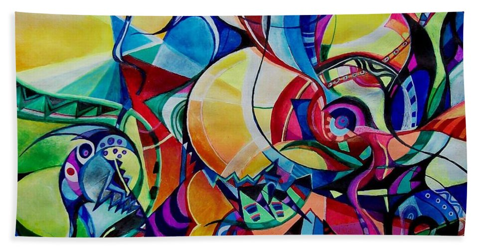 Emil Chakalov Firefly Gypsy Swing Acrylic Abstract Pens Paper Bath Towel featuring the painting Firefly by Wolfgang Schweizer
