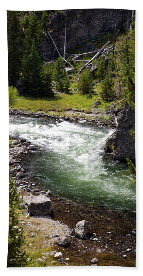 Yellowstone National Park Hand Towel featuring the photograph Firehole Canyon 2 by Marty Koch