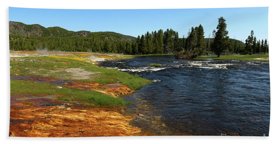 Park Hand Towel featuring the photograph Firehole River Colors by Christiane Schulze Art And Photography