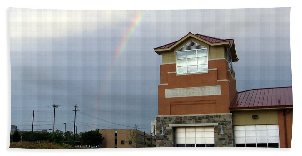 Firehouse. Ft Worth Tx Hand Towel featuring the photograph Firehouse Ranibow by Amy Hosp