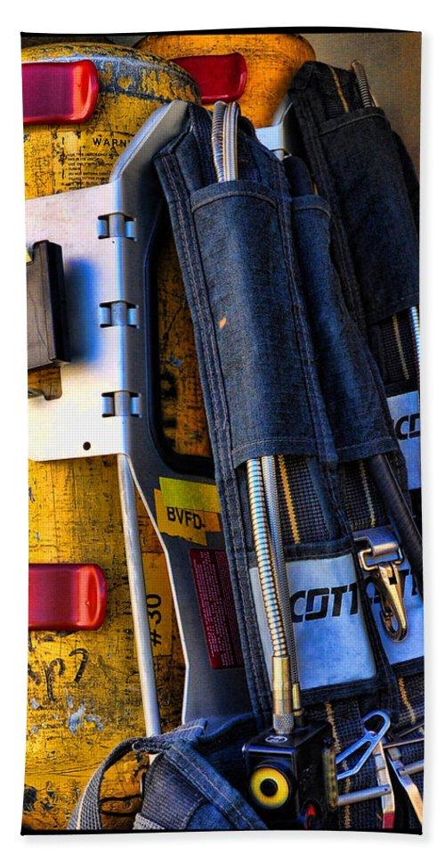 Fireman Hand Towel featuring the photograph Fireman Gear by Susan Cliett