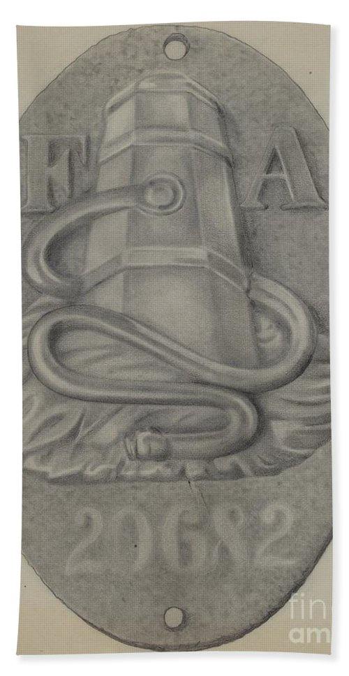 Hand Towel featuring the drawing Firemark by Grace Halpin
