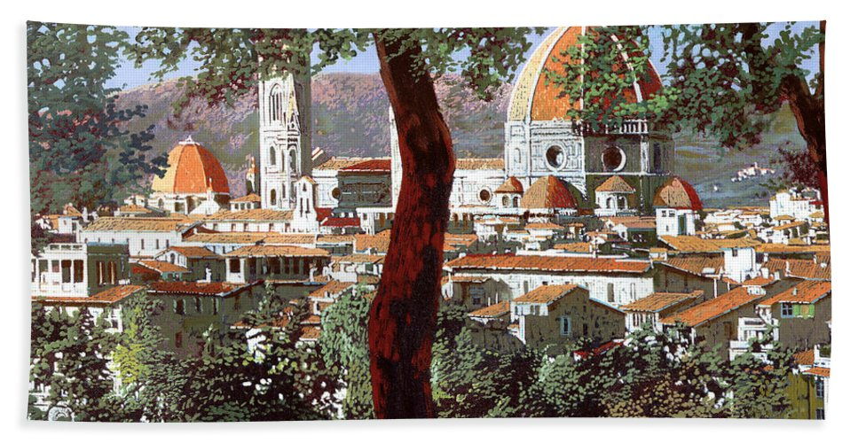 Landscape Bath Sheet featuring the painting Firenze by Guido Borelli