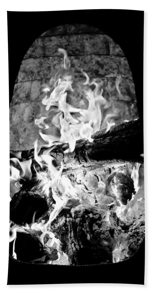 Black And White Bath Sheet featuring the photograph Fireplace Black And White by Jill Reger