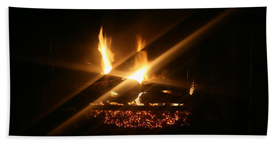 Fireplace Hand Towel featuring the photograph Fireplace by Ellen Henneke