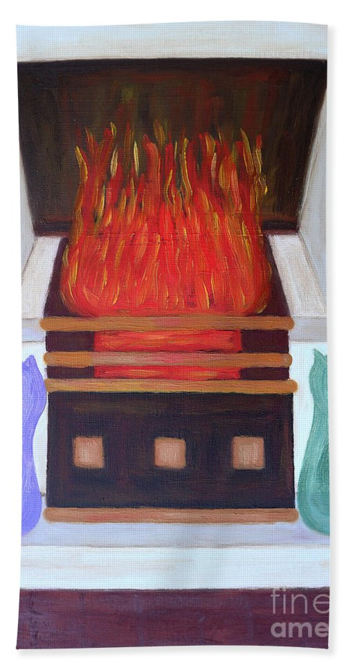 Cute Hand Towel featuring the painting Fireside With You by Patrick J Murphy