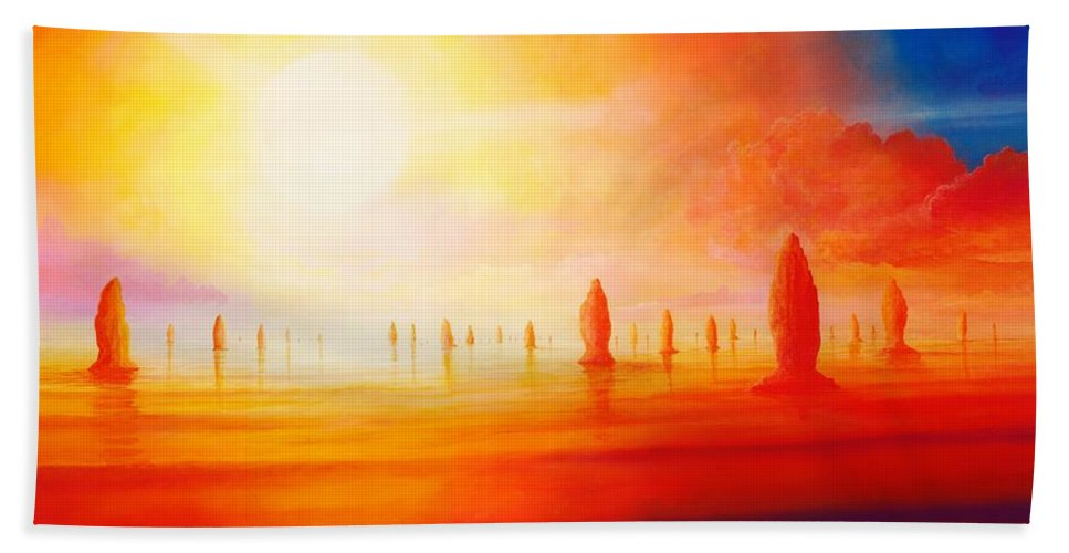 Red Hand Towel featuring the painting Firestone by Silvian Sternhagel
