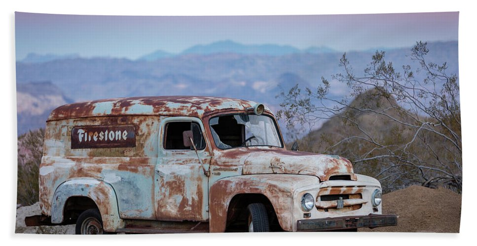 Las Vegas Bath Sheet featuring the photograph Firestone Truck by Valeriy Shvetsov
