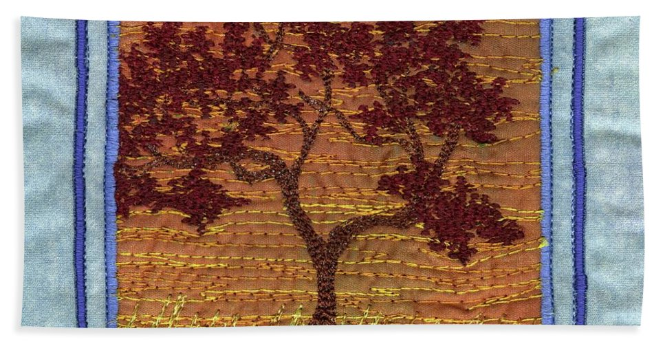 Tree Hand Towel featuring the tapestry - textile Firetree2 by Dottie Moore