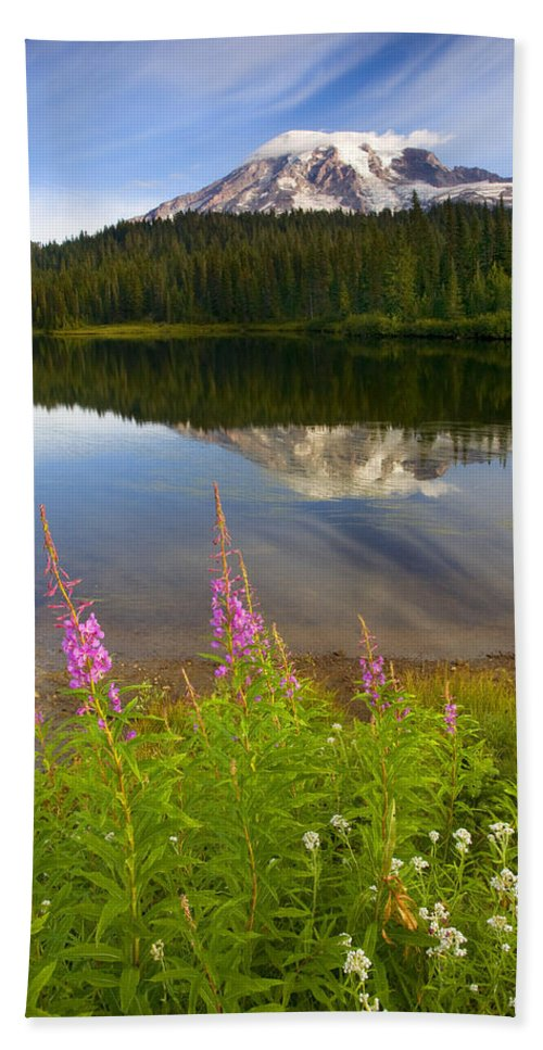 Fireweed Bath Sheet featuring the photograph Fireweed Reflections by Mike Dawson